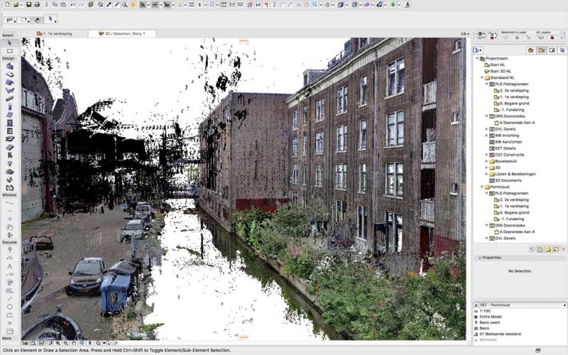 Point cloud Van Gendthallen Amsterdam in Archicad